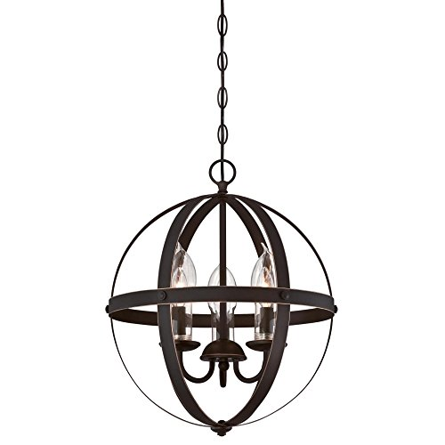 Westinghouse Lighting 6360600 Stella Mira Three-Light Chandelier, Oil Rubbed Bronze Finish with Highlights and Clear Glass Candle Covers Outdoor Pendant