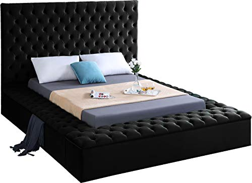 Meridian Furniture Bliss Collection Modern | Contemporary Black Velvet Upholstered Bed with Deep Tufting, with Storage Rails and Footboard, Queen,