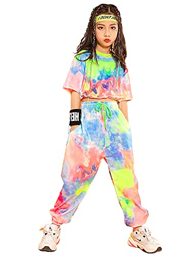 LOLANTA Mädchen Batikkleidung Samt Kleidungsset,Straßentanz Kleidung,Kinder Sweatshirt Kordelzughose(134-140,Kurz,Etikettengröße 140)