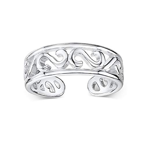 Amberta 925 Sterling Silver - Toe and Midi Ring for Women - Adjustable Fit - Tribal Design...