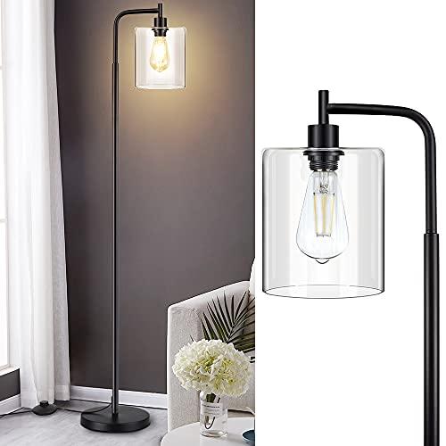 Depuley - Lámpara de pie de pie, lámpara de pie LED, lámpara de pie con pantalla de cristal, metal negro, luz cálida, la oficina, el estudio, bombilla E27 (incluida)