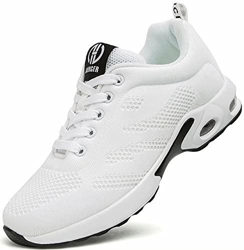 GURGER Air Laufschuhe Damen Atmungsaktiv Turnschuhe Sportschuhe Dämpfung Leichte Sneaker Frauen Laufen Straßenlaufschuhe Walkingschuhe Weiß Größe 39