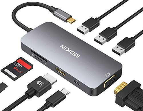 MOKiN USB C Hub, USB C Adapter für MacBook Pro 2020/2019/2018/2017, MacBook Air 2020/2019/2018, 8 in 1 Typ C Adapter mit 4K@30Hz HDMI, 1080P VGA, 3*USB 3.0, 87W Power Delivery, SD/TF Kartenleser