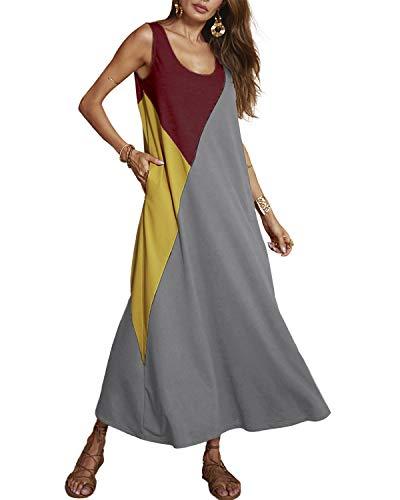 YOINS Maxikleider Damen Strandkleid Sommerkleid für Damen Lang Rundhals Patchwork Sexy Kleid Grau EU40-42