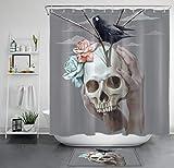 Pittura del Corvo del cranio gotico Floreale di Halloween Cortina de Ducha, Impermeable y Lavable, 12 Ganchos, decoración de baño
