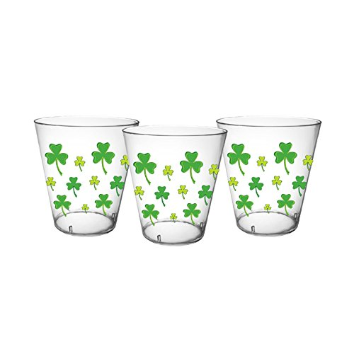 Party Essentials 40Count Hard Plastic 2 oz Printed Shot Glasses, Shamrocks, Clear