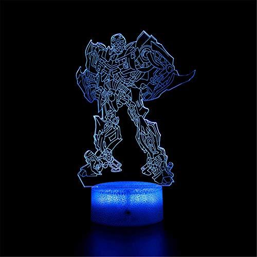 Transformers B 3D luz nocturna para niños lámpara de ilusión 3D 16 cambio de color lámpara de decoración – Regalo perfecto para niños y habitación decoración