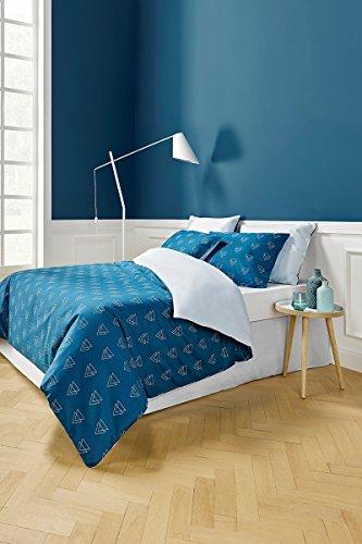 De Witte Lietaer Illuminati Bettwäschegarnitur mit Bettbezug und Kissenhüllen, Baumwolle, Blau, 260 x 220 cm