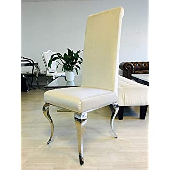 Xxl Sapphire Baroque Designer Dining Room Dining Chairs Stainless Steel Velvet Dining Chair Beige Amazon De Kuche Haushalt