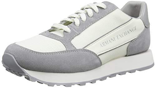 Armani Exchange Suede dwukolorowe sneakersy męskie, biały - Off White Silver - 42 EU