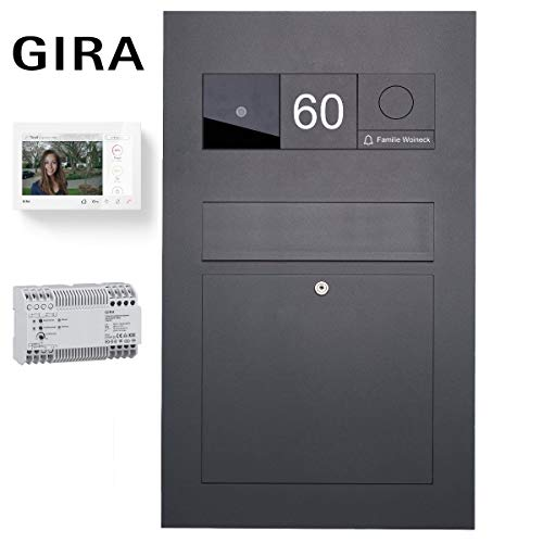 Edelstahl Briefkasten Designer BIG - RAL 7016 anthrazitgrau - GIRA System 106 - Video- Sprechanlage - VIDEO Komplettset