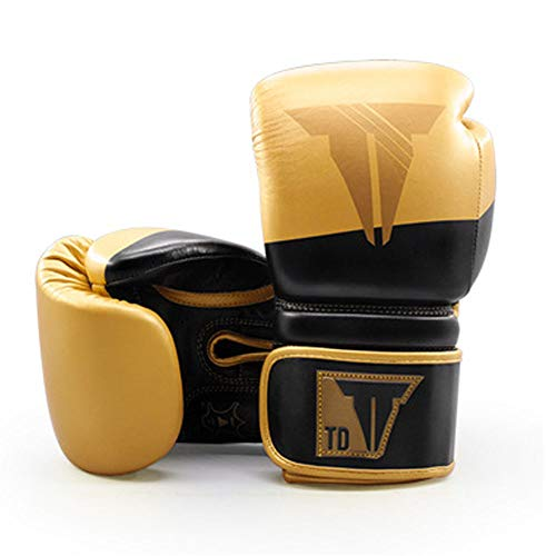 SHEHUIREN Boxhandschuhe Convex Skin Leder Punchinghandschuhe Für Sparring Kickboxen Kampfsport Boxsack Punching Fitness Sandsack Boxing Gloves,Gold,12oz