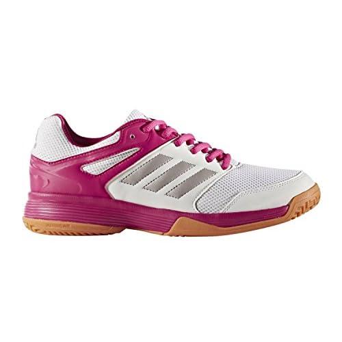 adidas Handballschuhe Speedcourt, Scarpe da Pallamano Donna, Multicolore (Weiß/Silber/Pink 000), 37 1/3 EU