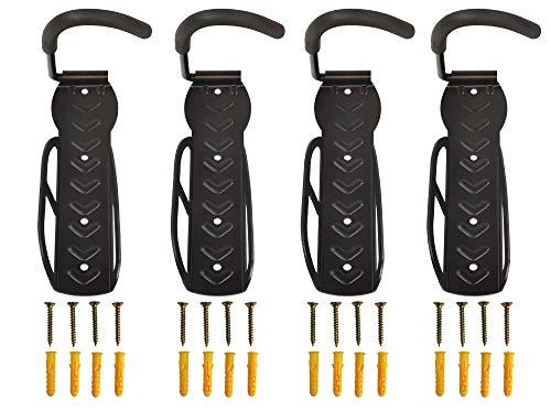 4x Ethatec® Powerhook Fahrradhalter Stahl Schwarz bis zu 35Kg Wandhalter Fahrrad Wandhalterung Haken Fahrradständer Ständer E-Bike Ebike inkl. Befestigungsmaterial