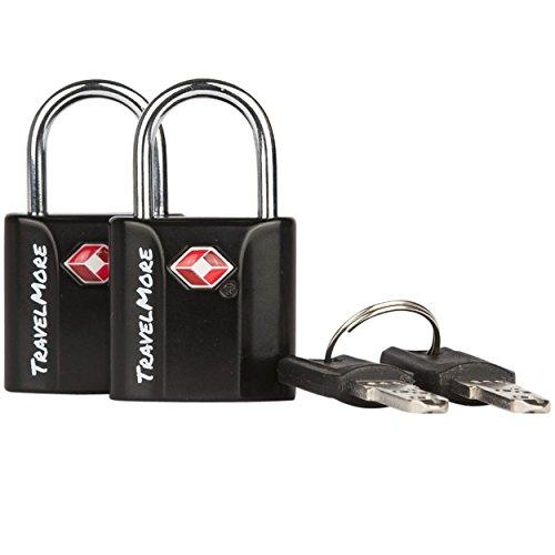 2er-Pack TSA-Schloss TSA-genehmigte Schlüsselschlösser für USA Flug-Reisen – Schloss mit Schlüsseln – Schwarz