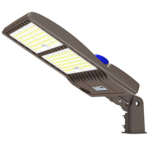 320W LED Parking Lot Lighting with Dusk to Dawn Photocell 44800LM LED Shoebox Pole Lights Fixture 1000W HID/HPS Replacement 5000K IP65 AC 100-277V DLC UL Listed Outdoor Area Street Security Lighting