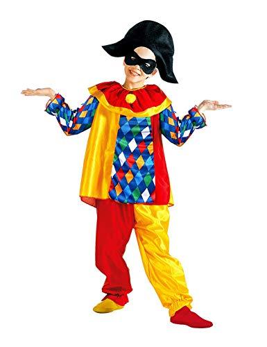 WIDMANN Disfraz infantil de arlequín 38605, parte superior con cuello, pantalones, sombrero, máscara, payaso, pájaro divertido, carnaval, fiesta temática