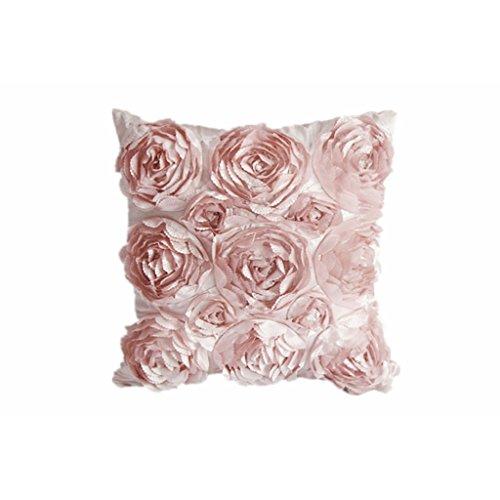 YIGO Blumen-Design Kissenbezug, Kunstfaser, Rosa, 42 x 42 cm