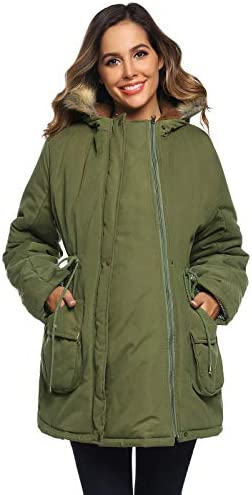 Mommy Maternity and Mother s Down Duffle Coat with Baby Wearing Panel Army Green product image