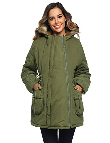 Maternity Pregnancy Baby Carrier Babywearing Parka Coat Removable Panel Army Green