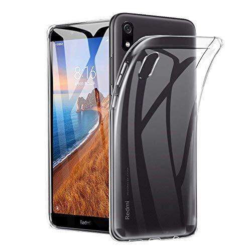 Amonke Funda Xiaomi Redmi 7A - Silicona Transparente TPU Carcasa, Flexible Suave Cristal Clear Ultra Slim Antigolpes Antiaraazos Bumper Case Cover para Movil Xiaomi Redmi 7A