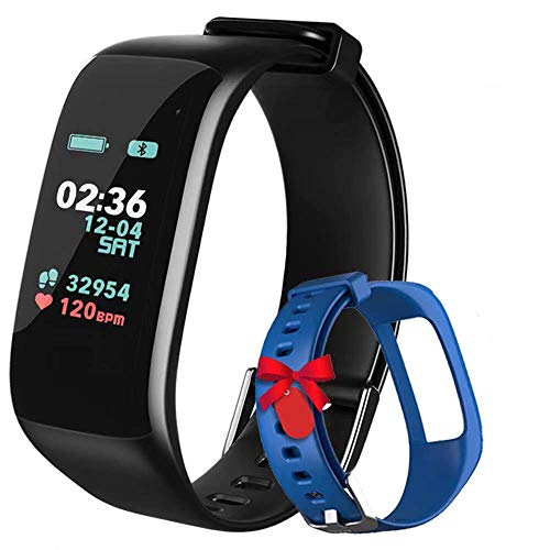 Fitness Tracker,Activity Tracker Watch with Heart Rate Blood Pressure Blood Oxygen Monitor,Waterproof Smart Fitness Band with Step Counter,Calorie Counter,Sleep Monitor for Kids Women and Men (Blue)