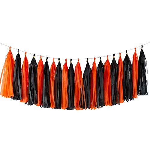 Aimto 20pcs Black and Orange Shiny Tassel Garland Banner Tissue Paper Tassels for Halloween Party Decorations