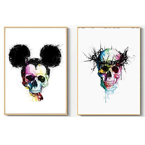 Non-branded Halloween Skelett Maus Schädel Blume Aquarell Leinwand Malerei Poster Wandkunst Drucke Bilder für Wohnzimmer Dekor 45X65cmX2 Kein Rahmen