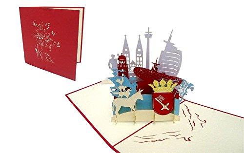 POP UP Karte; Grußkarten Bremen; Reisegutschein Geburtstag Karten Bremen skyline (Nr.222)