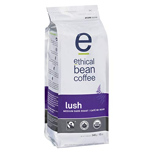 Lush Ethical Bean Coffee: Medium Dark Roast Whole Bean Coffee - USDA Certified Organic Coffee, Fair Trade Certified - 12 oz Bag (340 g), Silver, Black, Purple