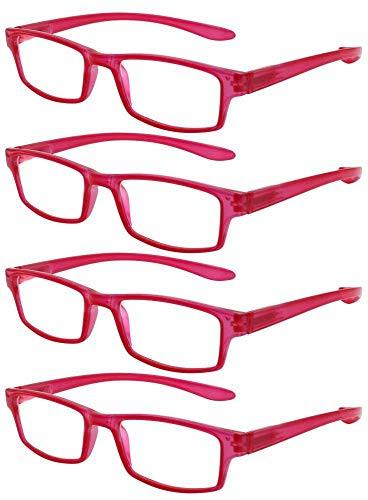 TBOC Gafas de Lectura Presbicia Vista Cansada - [Pack 4 Unidades] Graduadas +1.00 Dioptrías Montura de Pasta Roja Patillas Extra Largas Colgar Cuello Hombre Mujer Unisex Lentes Aumento Leer Ver Cerca