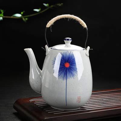 Theepot fles hoge temperatuur keramiek theepot handgeschilderd wijnoogstblauw en wit porselein 2 liter