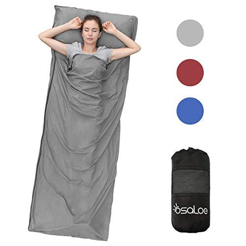 Osaloe Saco de Dormir para Acampar, Senderismo, Viajar y Al Aire Libre, Saco de Dormir Ultraligero con Cremallera y Bolsa de Compresión, 380 Gramos, 220 x 90 cm (Gris)