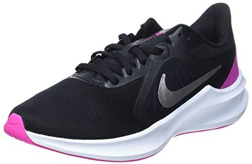 NIKE Downshifter 10, Running Shoe Mujer, Black Metallic Silver Fire Pink, 40.5 EU