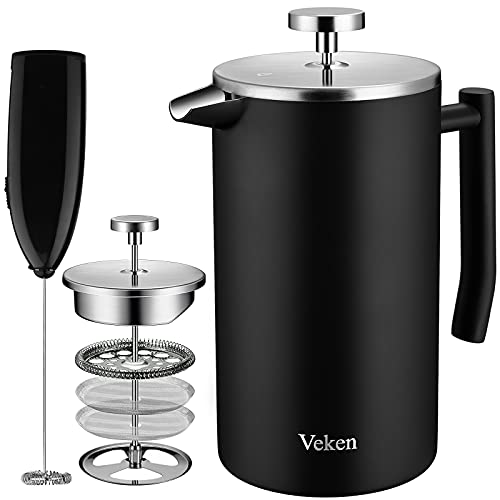 Veken French Press Coffee Maker, Double-Wall 18/10 Stainless Steel Coffee Press with Multi-Screen System, Rust-Free, Dishwasher Safe, (1L), Black