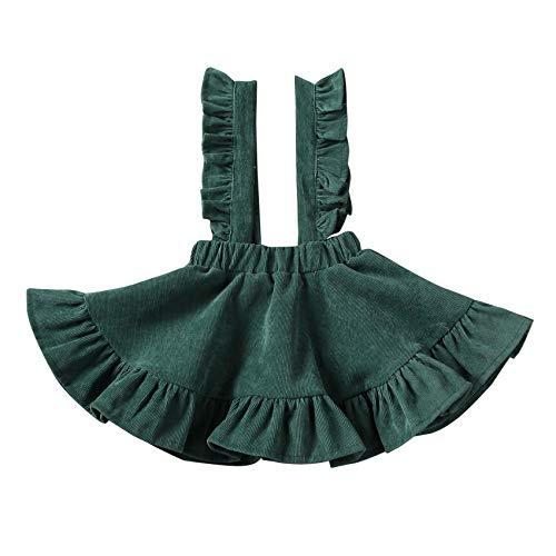 Baby Girls Floral Velvet Suspender Skirt Infant Toddler Ruffled Casual Strap Sundress Summer Outfit Clothes (5-6T, Green)