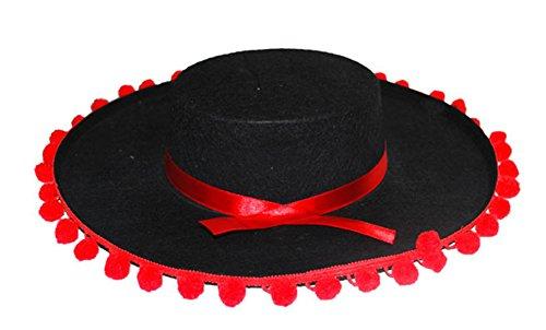 Halloweenia - Mexikanischer Hut- Flamenco- Muerte Tag der Toten- Day of dead Kopfbedeckung, Schwarz