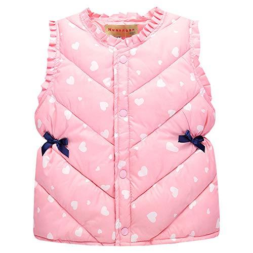 LSERVER Neue Kinderkleidung Baumwolle Weste Kleines Mädchen Prinzessin Daunenweste, Rosa, 98(Fabrikgröße: 100)