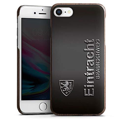 DeinDesign Holz Hülle kompatibel mit Apple iPhone 8 Holz Schutzhülle Echtholz Handyhülle Eintracht Braunschweig Fanartikel Metall
