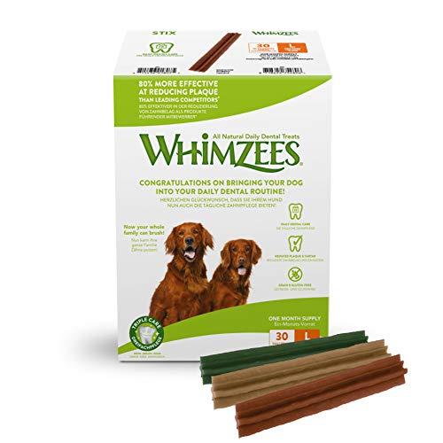 WHIMZEES Natürliche Getreidefreie Zahnpflegesnacks, Kaustangen für Hunde, Monats-Packung, Stix, Gr. L, 30 Stück