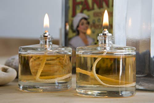 2 x Glass Oil Candle Tea Light LAMP by CLEARCRAFT. REFILLABLE, for USE with ODOURLESS LAMP Oil Table TOP Restaurant Style