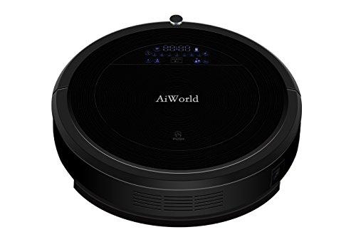 AiWorld voce robot aspirapolvere con serbatoio d'acqua rapidamente e grande pattumiera, pulire, 3d uv lunghezza 16.5cm, pulizia automatica parola robot auto - ricarica di pelo di animale domestico, polveri, dura terra, tappeto nero