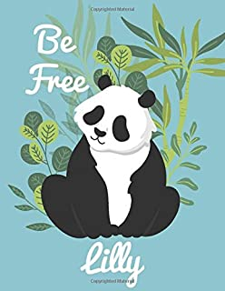 Lilly: personalized journal Gift, 100 Pages, 8.5x11, Soft Cover, Matte Finish panda Journal Notebook for Kids, Birthday sk...