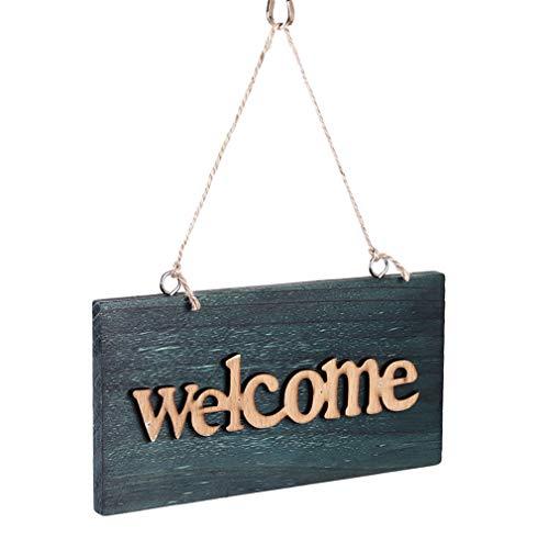 Unknow Lionmer - Placa para puerta de entrada de casa, diseño de letrero de bienvenida, cerrada, tienda de negocios, restaurante y bar de madera vintage, para colgar