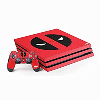 Skinit Decal Gaming Skin Compatible with PS4 Pro Console and Controller Bundle - Officially Licensed Marvel/Disney Deadpool Logo Red Design