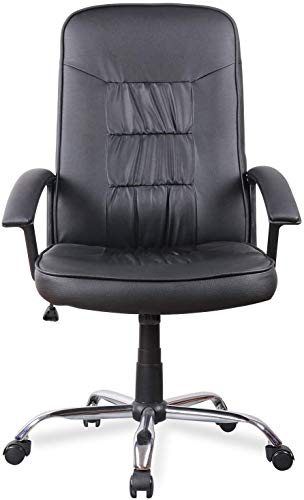 High Back Bonded Leather Office Executive Chair Soft Padded Armrest, Black