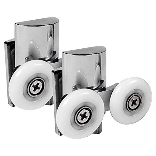 Juego de 2 piezas de rodillos de puerta de ducha de fondo doble / corredores / ruedas de 23 mm de diámetro para vidrio de 4-8 mm
