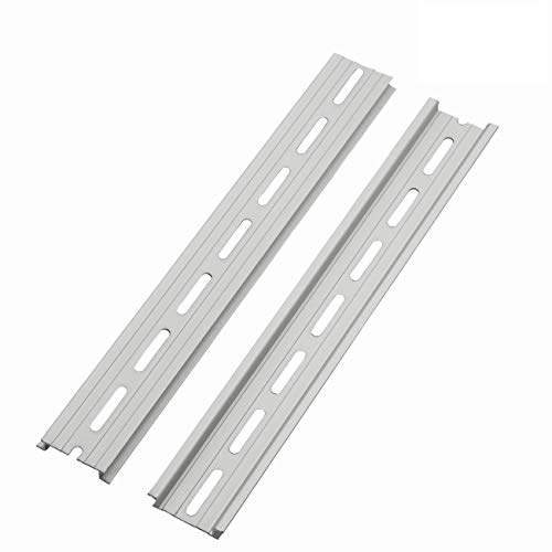 """PZRT 2-Pack Aluminum 1.1mm Thickness Slotted DIN Rail,250mm 9.8"""" Length 35mm Standard Width, for Single Phase Switch Installing Fixed Solid State Relay"""