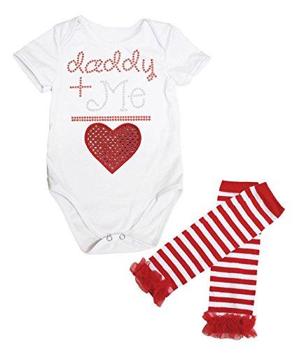 Daddy + Me = Valentijn Rode pailletten Hart Jumpsuit Baby Romper Been Warmer Nb-18m