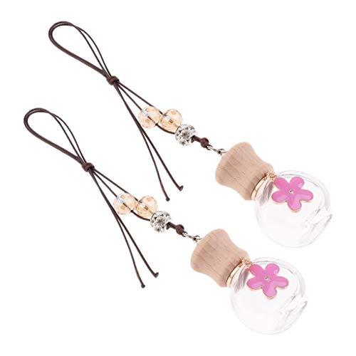 SM SunniMix 2er Japanischer Stil Lufterfrischer Autoparfüm Duftbaum Parfüm Flasche Deko Anhänger Wohnkultur - Rosa